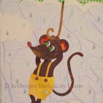 Rain Mouse Tissue Paper Collage