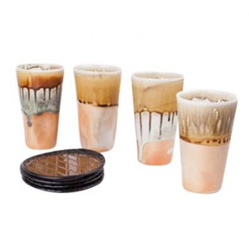 Set of Drippy Tumblers and Brown Bread Plates