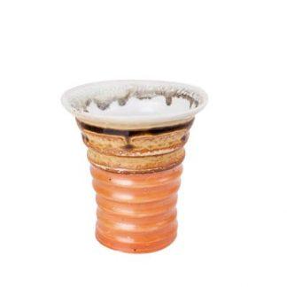 Burnt Orange Ribbed Ceramic Tumbler