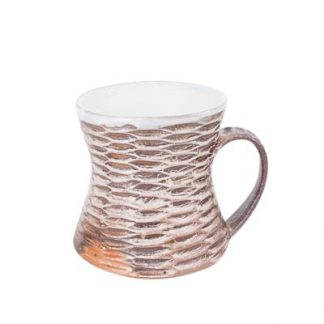 Rustic Carved Brown Ceramic Coffee Mug