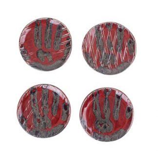 Set of 4 Red Hand Printed Bread Plates
