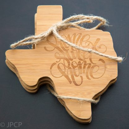 Coaster made from durable bamboo and then cut to the shape of Texas.