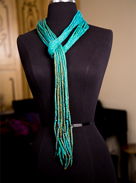 Nuno Felted String Scarf is made from hand-dyed silk and super soft Merino Wool.