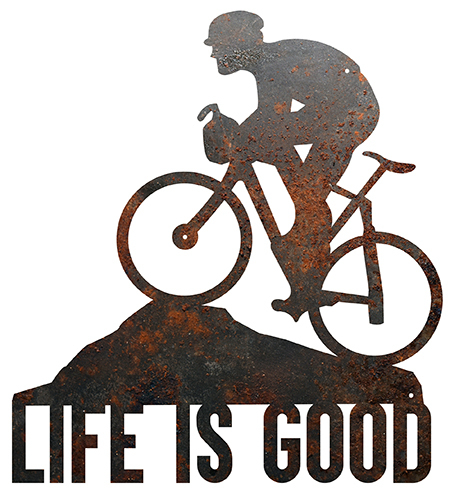 Cyclist – Life is Good Rustic Metal Wall Art | Texas by Texans