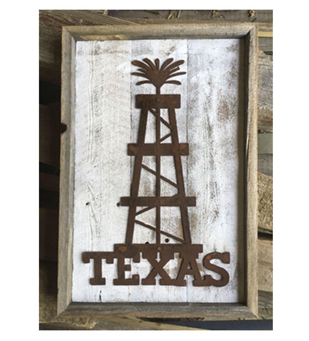 Texas Oil Derrick Rustic Metal Wall Art