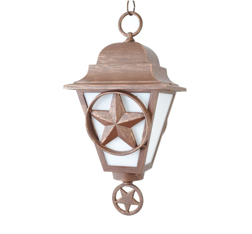 Lone Star Hanging Light in Cast Aluminum   Texas by Texans